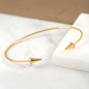 Gold Open Sparkling Dagger Bangle - contemporary jewellery