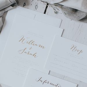 Gold Embossed Wedding Invitation Set - invitations
