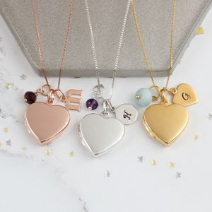 Personalised Heart Locket With Birthstones - birthstone jewellery gifts