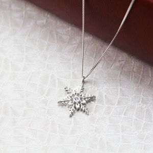 Sterling Silver Leafy Snowflake Necklace - necklaces & pendants