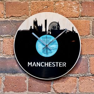 Manchester Skyline Vinyl Record Clock - clocks