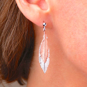 Two Tone Sterling Silver Feather Earrings - new in jewellery