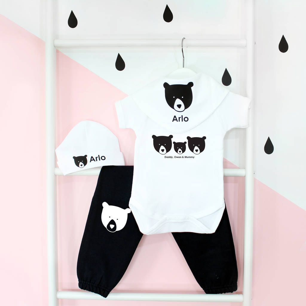 Bear Family, Personalised Baby Grow Set