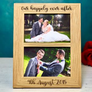 Personalised Double Solid Oak Photo Frame - what's new