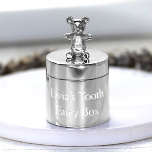 Silver Teddy First Tooth Box - personalised gifts