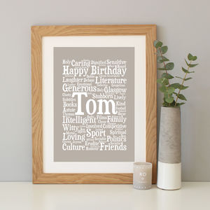 Personalised Birthday Word Art Gift - typography