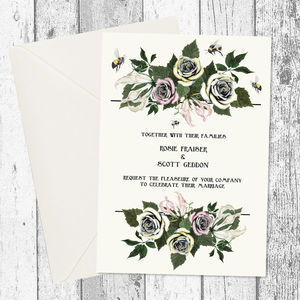 Bumble Bee Flower Bouquet Wedding Invitation - wedding stationery