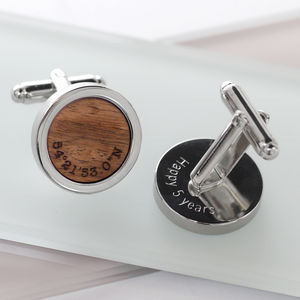 Personalised Walnut Wood Coordinate Cufflinks - 5th anniversary: wood
