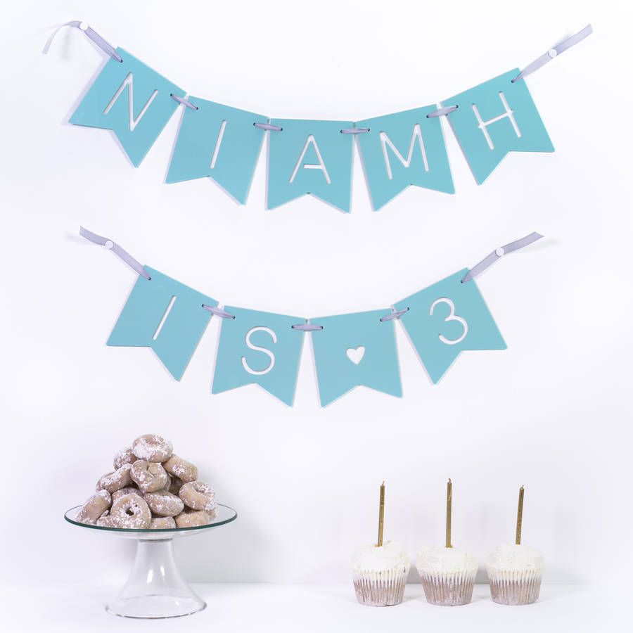 personalised birthday party banner by miss cake notonthehighstreet com