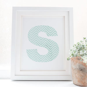 Personalised Chevron Design Initial Print - posters & prints
