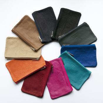 Soft Italian Leather Colourful Zip Up Carry Purse
