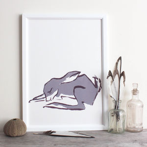 Sleepy Bunny Or Hare Sumi Screen Print