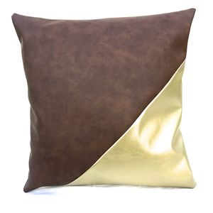 Vegan Leather Brown Gold Metallic Cushion - living room