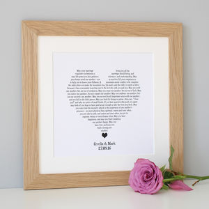 Personalised Wedding Reading Print - typography