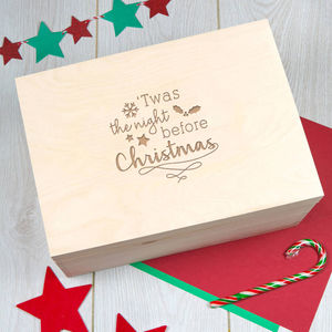 Engraved Extra Large Wooden Christmas Eve Box - christmas eve