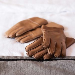 Beige Womens Sheepskin Gloves - womens