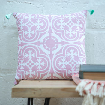 Moroccan Tile Cushion In Pink