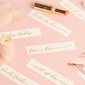 Gold Script Hen Party Tattoos - hen party ideas