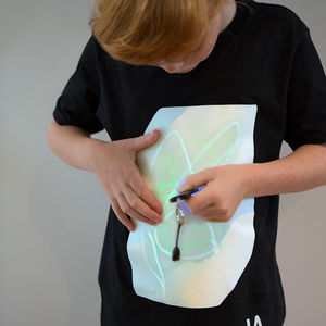 Childrens Interactive Green Glow Tshirt In Black - gifts for children
