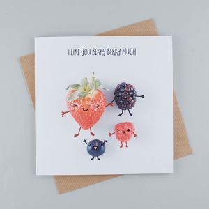 I Like You Berry Berry Much Greeting Card - original valentine's cards