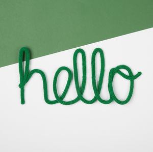 'Hello' Knitted Wire Word Sign - decorative accessories