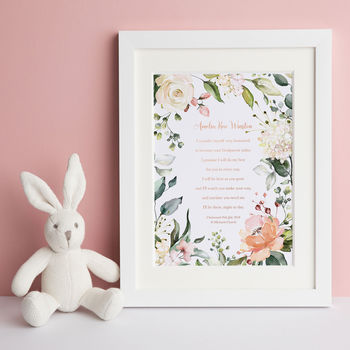 Personalised Godparents Christening Baptism Poem Print
