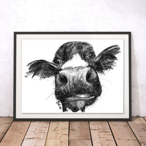 Cow Charcoal Fine Art Giclée Print - animals & wildlife