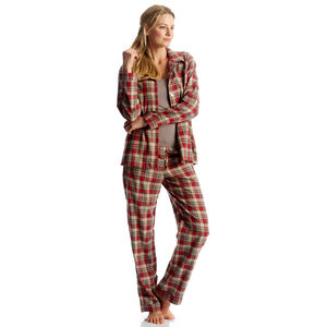 Women's Brushed Cotton Red Check Pyjamas