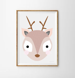 Reindeer Children's Print - children's pictures & paintings