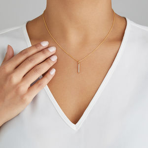 Silver Or Gold Diamond Drop Bar Necklace - gold necklaces