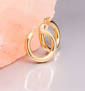 Thick Hoop Earrings In Gold, Rose Gold Or Silver