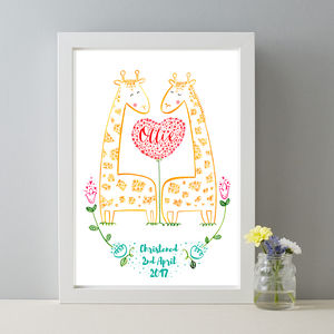 Personalised Baby Name Christening Giraffe Gift Print