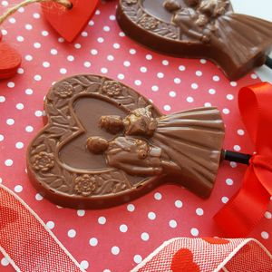 Two Bride And Groom Chocolate Lollipops - wedding favours