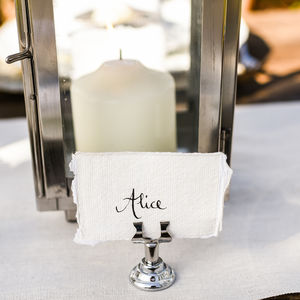 Four Small Silver Name Card Table Number Holders - tableware