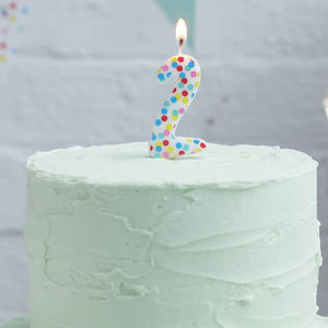 Polka Dot Candle Number Two Birthday Cake Candle