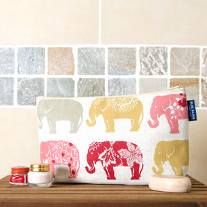 Elephant Print Toiletry Bag With Waterproof Lining
