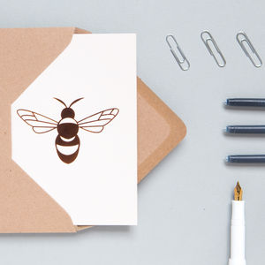 Set Of Four Luxury Bee Print Card
