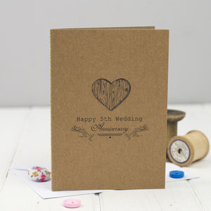 Fifth Anniversary Card Wood - anniversary gifts