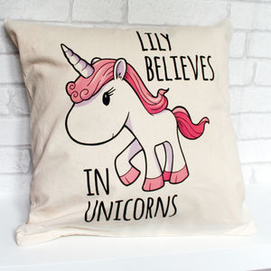 Personalised Unicorn Cotton Cushion Cover - gifts: under £25