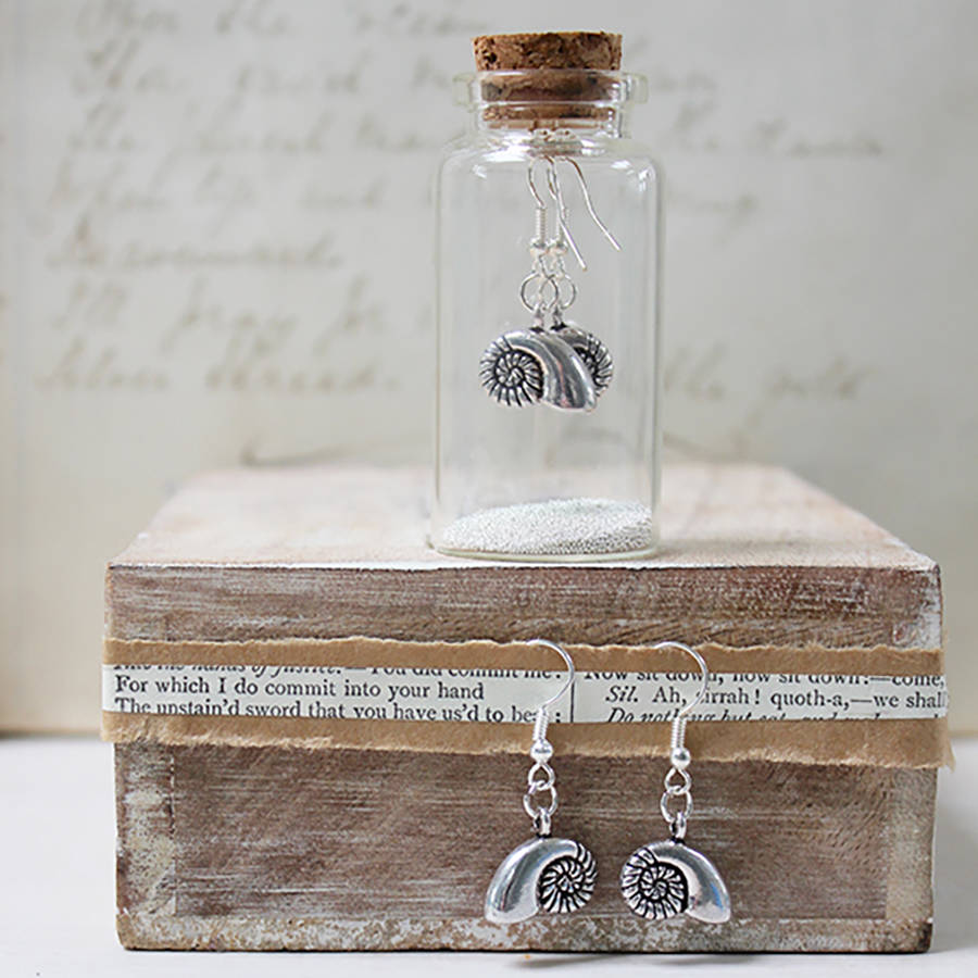 Ammonite Seashell Charm Earrings In A Bottle