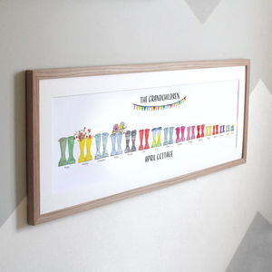 Personalised Panoramic Welly Boot Family Print