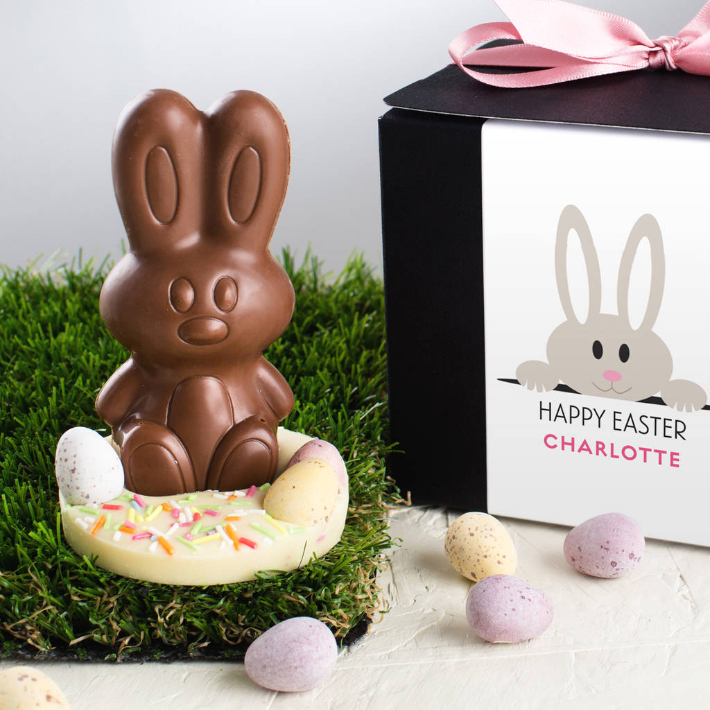 handmade chocolate easter bunny in gift box by quirky gift ...