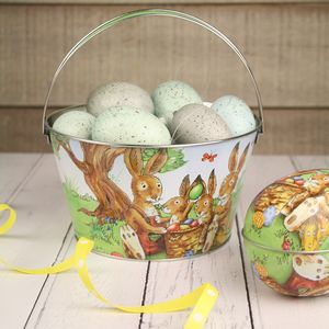 Easter Bunnies Picnic Tin Bucket