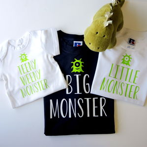 Personalised Father, Son And Baby Monster T Shirts