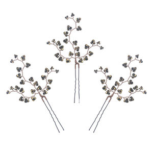Set Of Three Dark Gold Crystal Hairpins