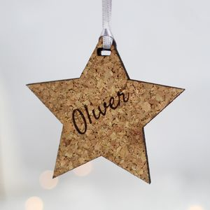Personalised Star, Cork - tree decorations