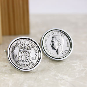 Sixpence 1947 70th Birthday Coin Cufflinks - cufflinks