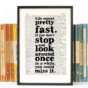 Ferris Bueller 'Life Moves Pretty Fast' Book Page Print