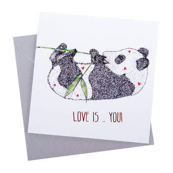 Love Panda Greetings Card