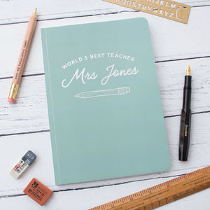 Personalised Best Teacher Silver Foil Softback Notebook - gifts for teachers
